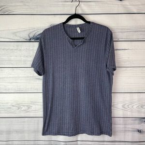 Frank & Oak Slim Ajuste Blue/White Tee Size Large
